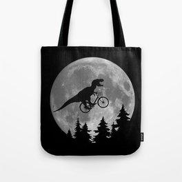 Biker t rex In Sky With Moon 80s Parody Tote Bag