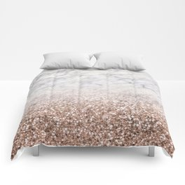 Bold ombre rose gold glitter - white marble Comforters