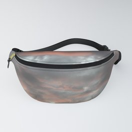 Gloomy grey red clouds Fanny Pack
