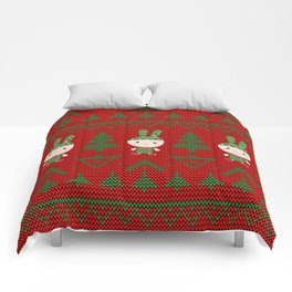 Knitted pattern Christmas Bunny Comforters