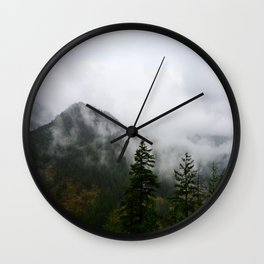 Low Clouds and High Mountains Wall Clock