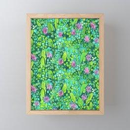 Pink Clover Flowers on Green Field, Floral Pattern Framed Mini Art Print