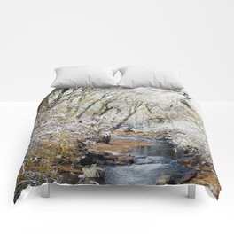 A Creek on a Snowy Day in Boulder, Colorado Comforters