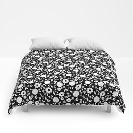 Black & White Floral Comforters