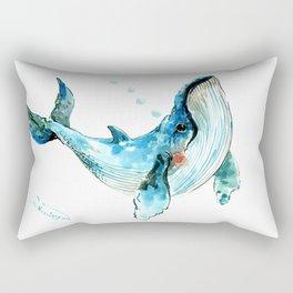 Humpback Whale Artwork Children Illustration Cute little Whale, whale design Rectangular Pillow
