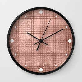 Beautiful Modern Rose Gold Square Pattern Wall Clock