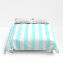 Narrow Vertical Stripes - White and Celeste Cyan Comforters
