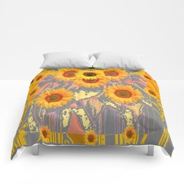 MODERN ART YELLOW SUNFLOWERS  GREY ABSTRACT Comforters