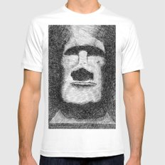 Easter island - Moai statue - Ink Mens Fitted Tee White MEDIUM