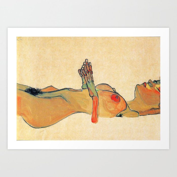 Egon Schiele - Orange knuckles and nipples (new color edit) Kunstdrucke