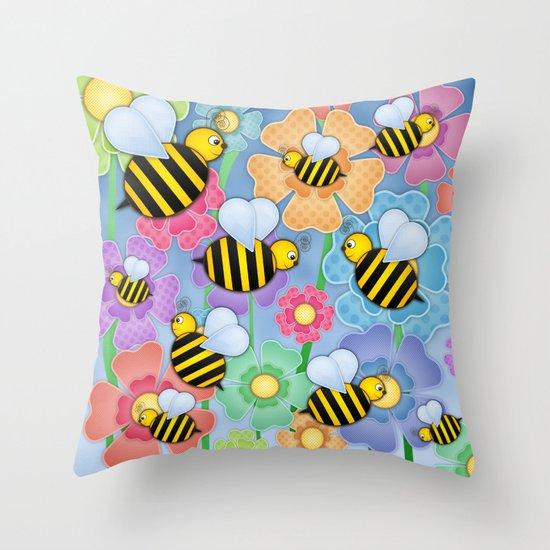 Busy Buzzers. Throw Pillow