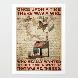 Job Jobs Girl Wanted To Become A Writer Art Print