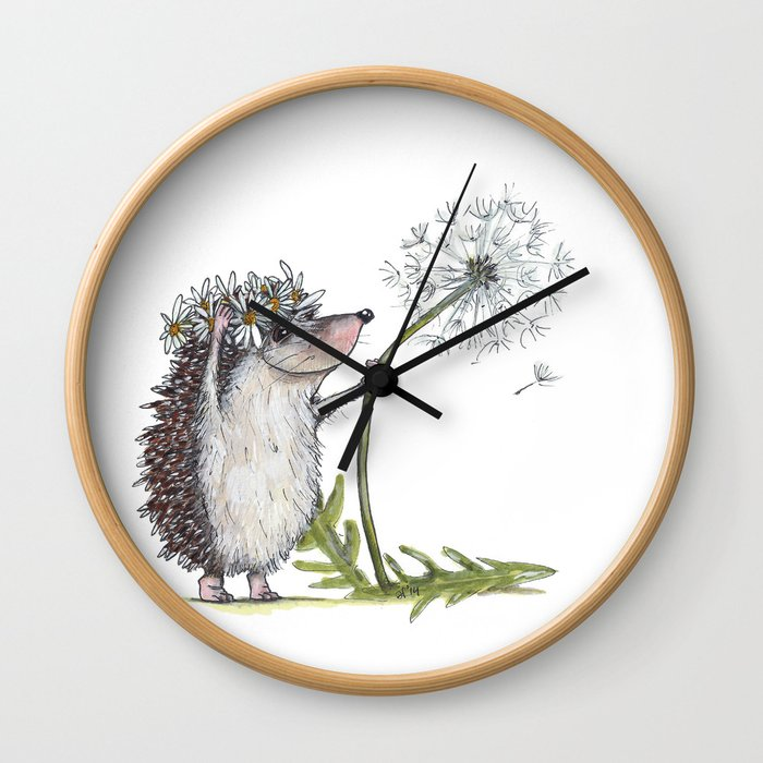 Hedgehog & Dandelion Wall Clock