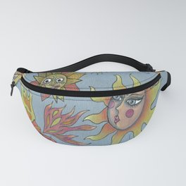 different fantasy sun faces, blue gray grey yellow orange red Fanny Pack