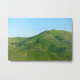 green field and green mountain with blue sky Metal Print