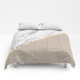 Modern white marble gold stripe wood color block Comforters