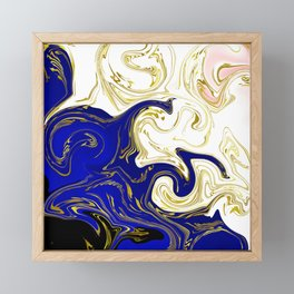 blue ,gold,rose,black,golden fractal, vibrations, circles modern pattern, Framed Mini Art Print