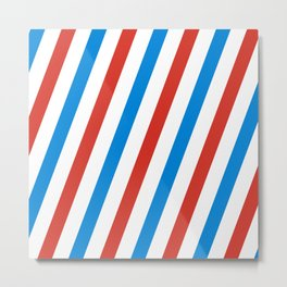 Barber shop stripes (red white blue) Metal Print