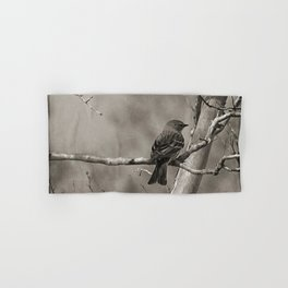 The Quest:  Black and White Bird Antiqued Hand & Bath Towel