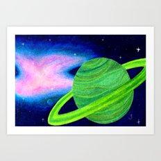 Green Planet, Pink Nebula Art Print