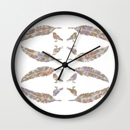 Feather & Bird - Girly Floral Wall Clock