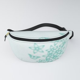 teal flowers and butterflies on subtle textured background Fanny Pack
