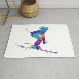 Girl Skiing Colorful Watercolor Winter Sports Art Rug