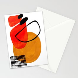 Mid Century Modern Abstract Vintage Pop Art Space Age Pattern Orange Yellow Black Orbit Accent Stationery Cards