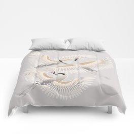 traditional Japanese cranes bright illustration Comforters