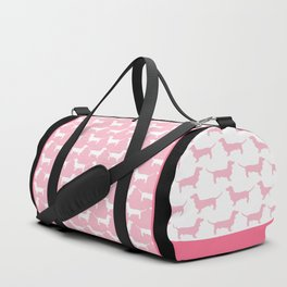 Pink Dachshund Silhouette Pattern Duffle Bag