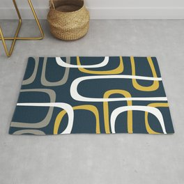 Mid Century Modern Loops Pattern in Light Mustard Yellow, Navy Blue, Gray, and White Rug
