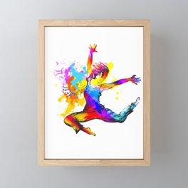 Hip hop dancer jumping Framed Mini Art Print