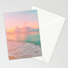 Beautiful: Aqua, Turquoise, Pink, Sunset Relaxing, Peaceful, Coastal Seashore Stationery Cards