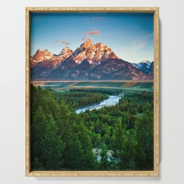 Snake River and the Grand Titan Mountains color photography / photographs / photograph Serving Tray