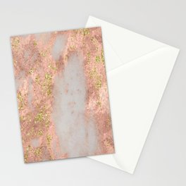 Rose Gold Marble with Yellow Gold Glitter Stationery Cards