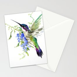 Hummingbird and Blue Flowers Stationery Cards