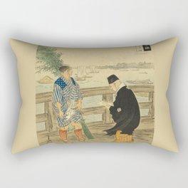 2 man on the bridge over the river Rectangular Pillow