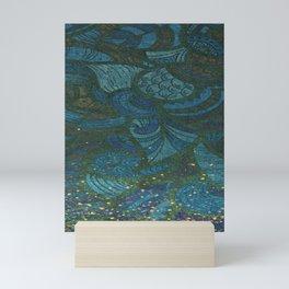 Paisley Leaf Abstract Pattern with Glitter Blue Green Aqua Mini Art Print