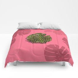 """Moss green leaf and pink flamenco polka dots"" Comforters"