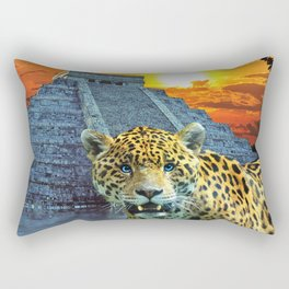 Chichen Itza Temple Guardian - South American Jaguar Rectangular Pillow