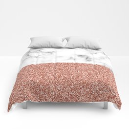 dip-dyed marble – rose gold (faux) glitter Comforters