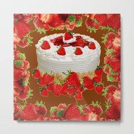 CHOCOLATE STRAWBERRIES PARTY CAKE Metal Print