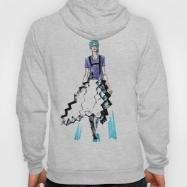 fashion #58: Girl with blue hair and a skirt-origami Hoody