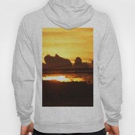 Dramatic sunset with bridge Hoody