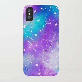 Modern nebula ultra violet watercolor hand painted white constellation stars universe small pattern iPhone Case