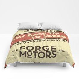 Vintage Car Garage Poster Comforters