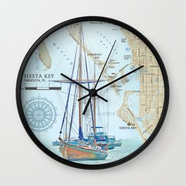 Sarasota and Siesta Key Nautical Area Map Wall Clock