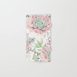 Pink Succulents on Cream Hand & Bath Towel