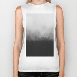 Moody Black and White Minimalist Pine Forest Foggy Misty Trees Biker Tank