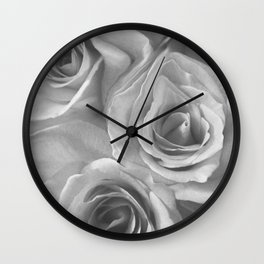 Roses in Black and White Wall Clock